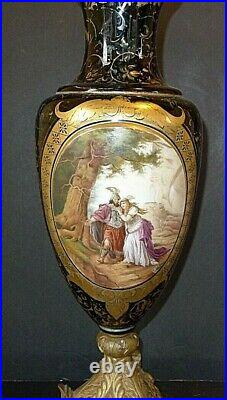 Finest Moser Large Hand Painted Vase Norse Gold Viking Rare 21 Tall Incredible