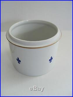 Forstenberg German Porcelain Hand Painted Tall Box Cameo Top Flue-de-lis Design