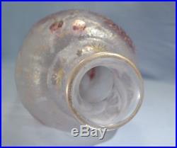 French Art Nouveau Cristallerie de Pantin Cameo Acid-Etched Art Glass Tall Vase