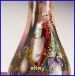 French Hand Painted Enamel 4.5 Inches Tall Vase Artist Signed