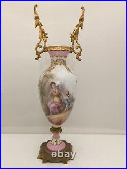 French Porcelain Ormolu Signed Hand Painted Vase 13 TALL Sevres Louis Mark