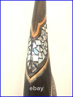 Giraffe Tall Statue Wood 60 Hand Carved Glass Mosaic Details by Zenda Imports