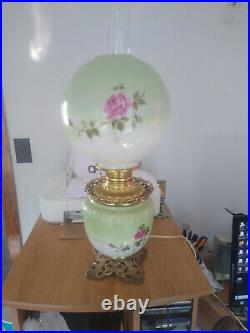 Gone With The Wind Hurricane Electric Handpainted Rose Table Lamp 24 1/2 Tall