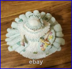 Gorgeous Green Irish Dresden Lace Going To The Fair Figurine 7 1/2 tall