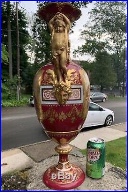 Gorgeous & Huge Antique 19th C. Hand Painted Royal Vienna Porcelain Vase 22Tall