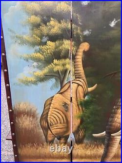 Great Hand Painted Elephant Wooden Screen/Room Divider, Six Feet Tall