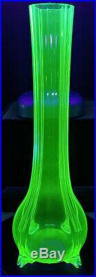 HARRACH Mid 1700's Vaseline Green Hand Blown Tall Ribbed to Feet Flower Vase