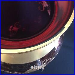 HUGE 16 Tall Vintage Murano Red Glass Heavy Gold Enamel Flower Decoration Vase