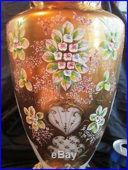 HUGE CZECH/BOHEMIAN Gild GLASS VASE HAND-PAINTED ENAMEL Floral Design 15.9 tall
