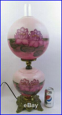 HURRICANE GWTW PARLOR LAMP withHAND PAINTED PINK WATER LILY 3 WAY- 26 TALL(73C)