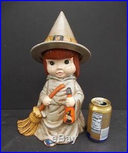 Halloween Decor Centerpiece Vintage Girl Witch 16.5 Tall Handpainted Ceramic