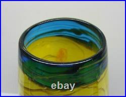 Hand Blown Art Glass Multi Color Swirl Vase, 15 Tall, Heavy 7 lbs, Yellow, Blue