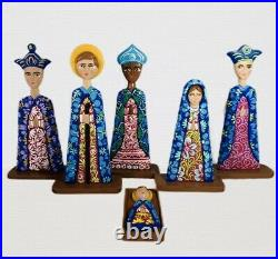 Hand-Carved Nativity Set Christmas Unique wooden Hand Painted Colorful 12Tall