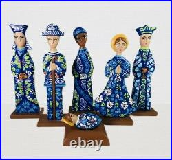 Hand-Carved Nativity Set Christmas Unique wooden Hand Painted Navy Blue 12Tall