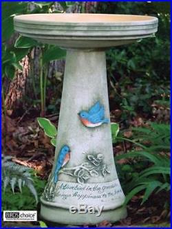 Hand Painted 24 Tall Bluebird Design Ceramic Birdbath 17 Dia. Bowl Made in USA
