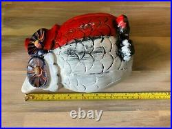 Hand Painted America Owl Clay Statue 7 inches Tall Signed Red White & Blue