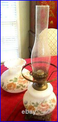 Hand Painted Double Hurricane Glass Gwtw Antique Parlor Lamp 22 Tall 3 Way