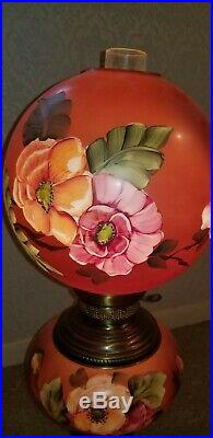 Hand Painted Tall Vintage GWTW Hurricane Lamp. 30 inches tall