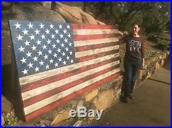 Handcrafted Rustic Wood XL American Flag 7 Feet wide 3.5 Feet tall