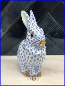 Herend Blue Fishnet Bunny Rabbit Hand Painted Figurine Gold Trim 5.25 Tall
