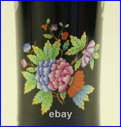Herend Old Victoria Hand Painted Black Vase 7032 VE-FN 9 8 1/2'' Tall