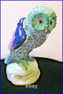 Herend Porcelain Fishnet Owl 4.5 Tall Figurine-Hand-painted Green-5106