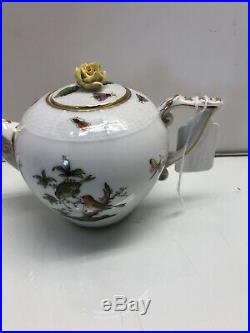 Herend Rothschild Bird Small Teapot & Lid with Rose Handpainted Mini 4 Tall