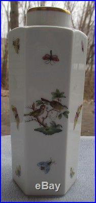 Herend Rothschild Bird Tall Hexagonal Bottle Vase Hand Painted Mint