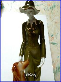 Hollohaza Hand Painted WOMAN GREEN DRESS withDOG Figurine 16 Tall model 8246