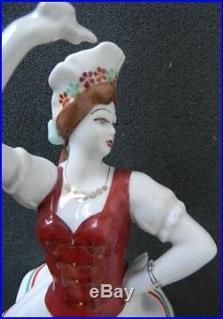 Hollohaza Hungary hand painted tall figurine of dancing girl