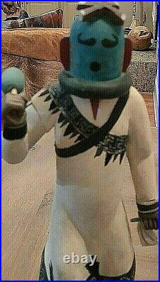 Hopi Eototo Chief Kachina Doll 15 1/2 tall Hand painted Hand Carved, signed