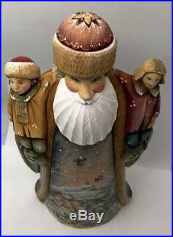 Huge 14 Tall Russian SANTA Wood Hand Carved Hand Painted