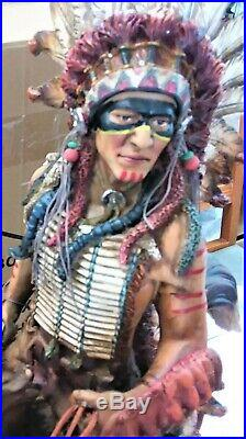 Huge 27 in Tall Native American Indian War Chief Hand-Painted Resin Statue New