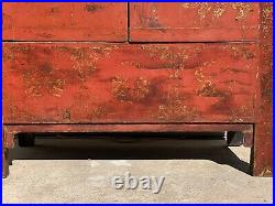 Huge 69 Inches Tall Chinese Hand Painted Wood & Fabric Wedding Cabinet