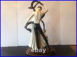 Huge A. Santini Art Figurine Statue 19 Tall Ballroom Dancers Handpainted Signed