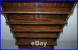 Huge Hand Painted Oak Waterfall Library Bookcase 217.5cm Tall Gold Leaf Paint