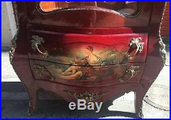 Huge Tall Antique French Curio Display Cabinet Louis XV hand painted Bombay key