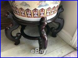 Huge Vintage Handpainted Birds & Flower Chinese Porcelain Vases, 36 Tall, 18 W