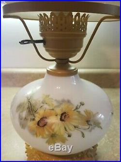 Hurricane Double Globe Hand Painted Sunflowers Milk Glass Antique Lamp 20 Tall
