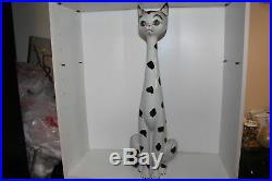 Impressive Vintage Mid-century Hand Painted Pottery 29.5 Tall Cat Statue-italy
