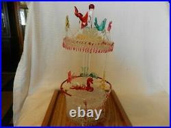 Italian Hand Blown Glass Carousel With Display Box Multi Colored 12.25 Tall