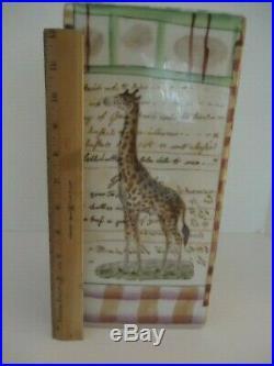 JOHN DERIAN Tozai LARGE Handpainted 13 Tall JUNGLE ANIMALS Vase /Umbrella Stand