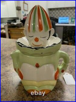 Japanese Pottery Juicer/reamer Clown Hand Painted Vintage 8 tall