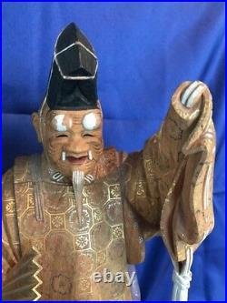Japanese Vintage Noh actor 13.5 Tall statue Hand carved and Painted, Signed