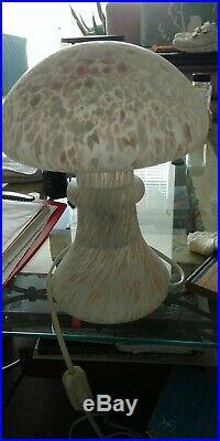 KOSTA BODA SWEDEN tall Mushroom light speckled white, grey, pink