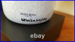 Kosta Boda Hand Blown Blue Open Minds Vase by Ulrica Hydman Vallien 10 Tall