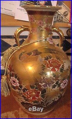 Kutani Satsuma Koyo Porcelain Oriental Handpainted Large Vase Urn 17 Tall VGC