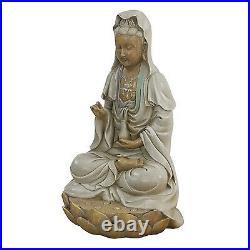 Kwan Yin Bodhisattva Statue Hand Painted Sitting on Lotus 12Tall Indoor Outdoor
