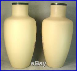LARGE 13 Tall Antique Victorian Hand Enameled Fire Glow Mantle Vases SIGNED EX