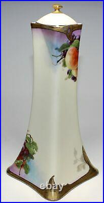 Lanternier Limoges Tall Handpainted Chocolate Pot With Fruit Signed
